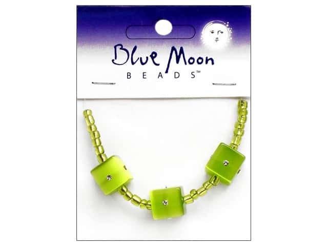 Blue Moon Beads Sparkling Cat's Eye 12mm Cube 3 pc. Green