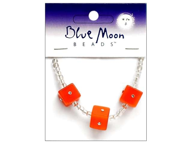Blue Moon Beads Sparkling Cat's Eye 12mm Cube 3 pc. Coral