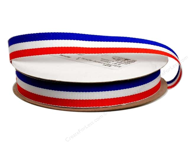 "Offray Ribbon Woven Tri-Stripe Red/ White/ Royal 5/8"" (10 yards)"