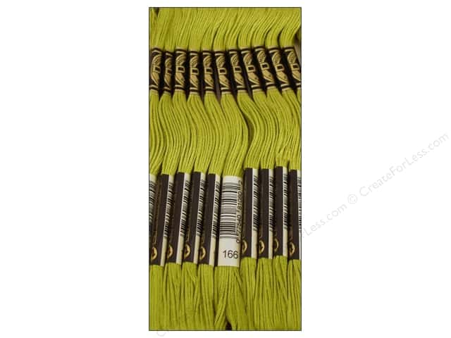 DMC Six-Strand Embroidery Floss #166 Medium Light Moss Green (12 skeins)