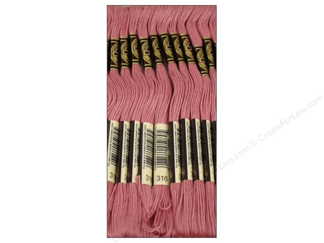 DMC Six-Strand Embroidery Floss #316 Medium Antiqueique Mauve (12 skeins)