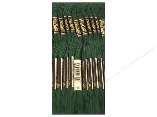 DMC Six-Strand Embroidery Floss #319 Very Dark Pistachio Green (12 skeins)