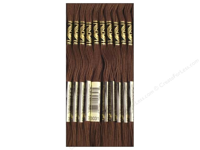 DMC Six-Strand Embroidery Floss #3031 Dark Mocha Brown (12 skeins)