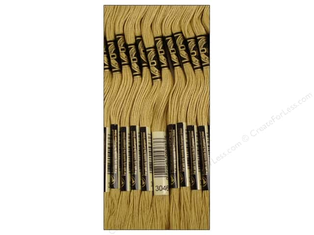 DMC Six-Strand Embroidery Floss #3046 Medium Yellow Beige (12 skeins)