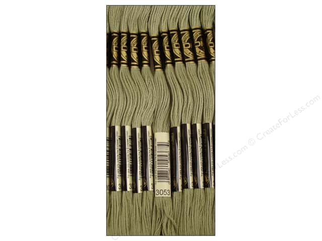 DMC Six-Strand Embroidery Floss #3053 Green Grey (12 skeins)