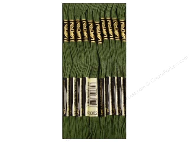 DMC Six-Strand Embroidery Floss #3362 Dark Pine Green (12 skeins)