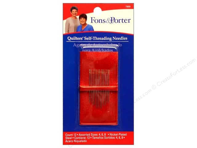 Fons & Porter Notions Needles Hand Self Threading Assorted 12pc