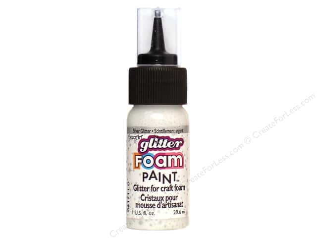 DecoArt Foam Paint 1oz Bottle Silver Glitter