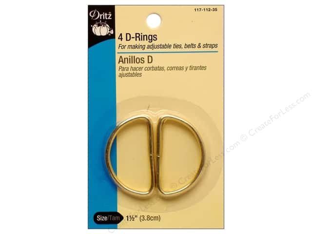 D Rings by Dritz 1 1/2 in. Gilt 4pc.