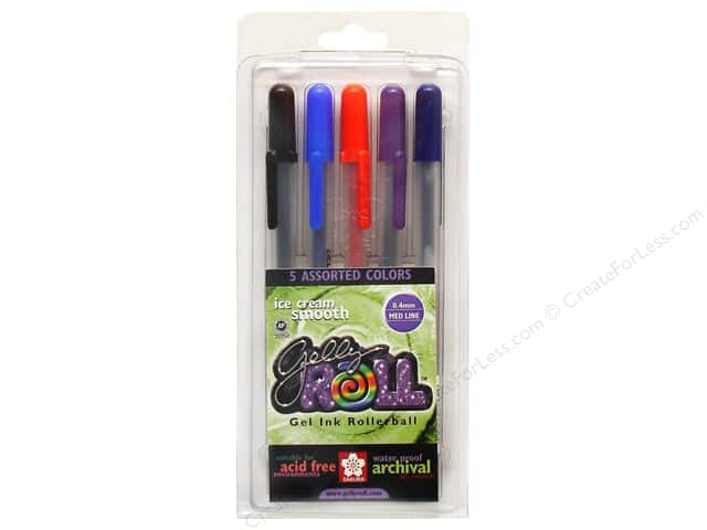 Sakura Gelly Roll Pen Gel Ink Set Medium Point Assorted 5pc