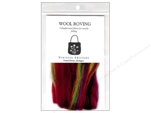Wistyria Editions 100% Wool Roving 12 in. Variegated Red