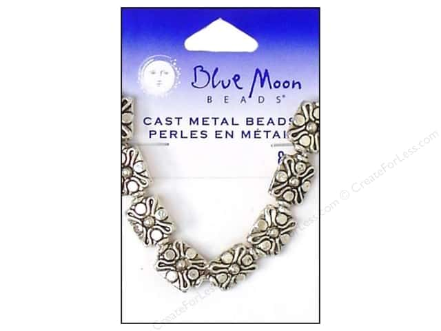 Blue Moon Beads Metal Cross Dotted Silver 8pc