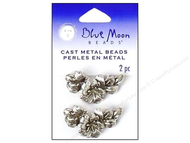 Blue Moon Beads Metal Flower 2 Hole Silver 2pc