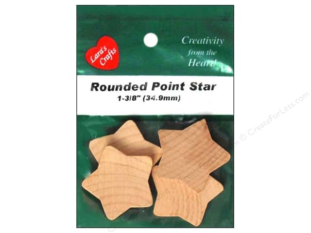 Lara's Wood Rounded Point Star 1 3/8 in. 4 pc.