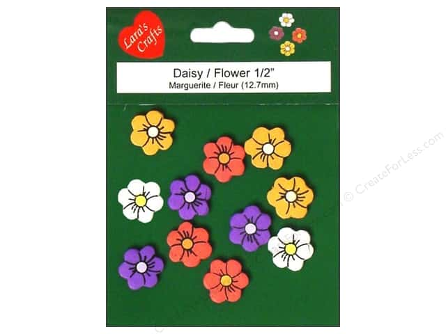 "Lara's Painted Wood Micro 1/2"" Daisy 11 pc"