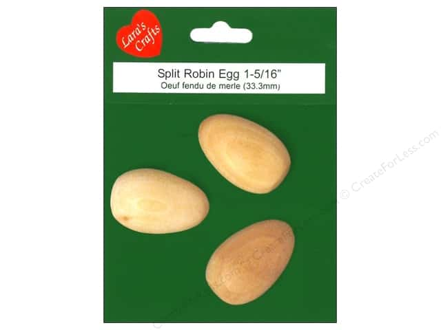 "Lara's Wood Robin Egg Half 7/8""x 1 1/4"" 3 pc"