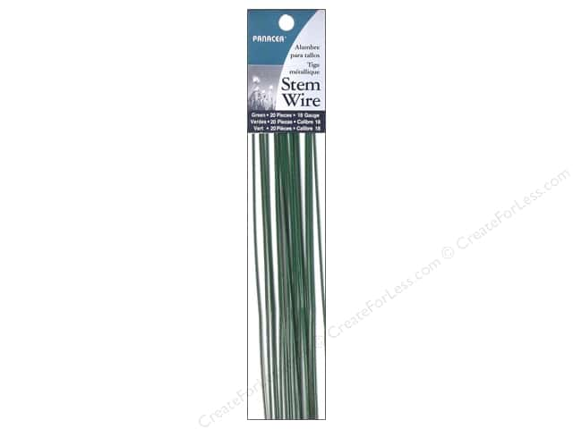 "Panacea Wire Stem 18"" 18Ga Green 20pc"