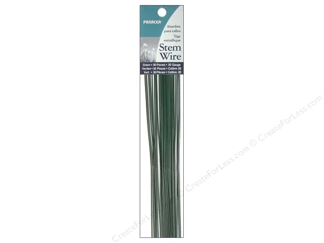 "Panacea Stem Wire 18"" 20 Ga Green 30pc"