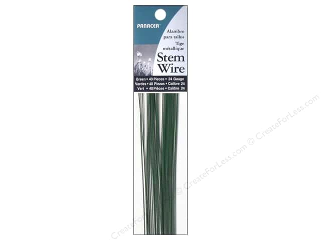 "Panacea Stem Wire  18"" 24 Ga Green 40pc"