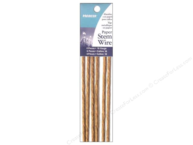 "Panacea Paper Stem Wire 18"" 18 Ga Natural 6pc"