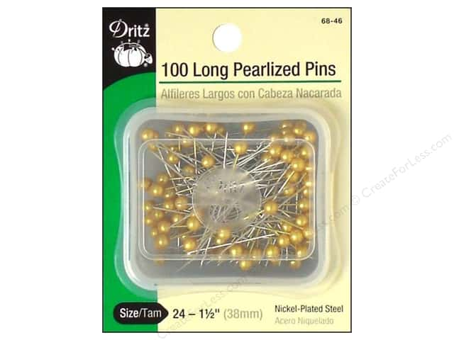 Long Pearlized Pins by Dritz Size 24 Gold 100pc.