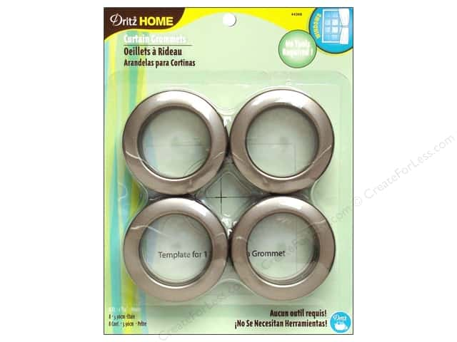 Dritz Home Curtain Grommets 1 9/16 in. Round Pewter 8pc