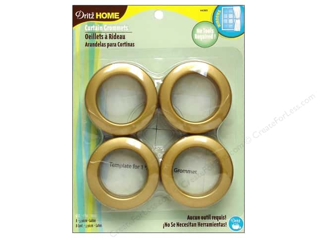 Dritz Home Curtain Grommets 1 9/16 in.  Round Brass 8pc