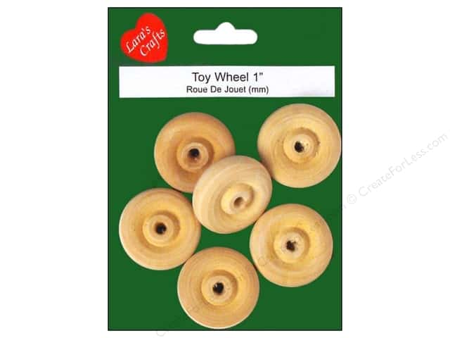 "Lara's Wood Toy Wheel 1"" 6 pc"