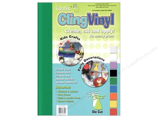 "Grafix Cling Vinyl Sheet 9""x 12"" Assorted Colors 9 pc"
