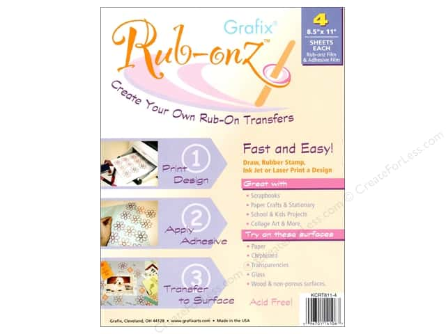 "Grafix Rub Onz Film Sheet Ink Jet/Laser 8.5""x 11"" 4 pc"