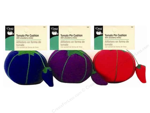 Tomato Pin Cushion by Dritz Assorted Blue/Pink/Purple