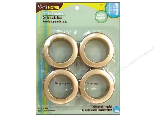 Dritz Home Curtain Grommets 1 9/16 in. Round Matte Gold 8pc