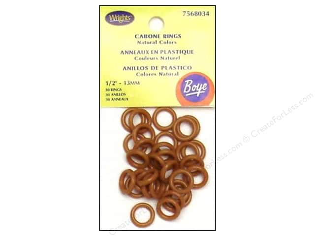 "Boye Yarn Accessories Cabone Rings 1/2"" Dark Brown 30pc (3 packages)"