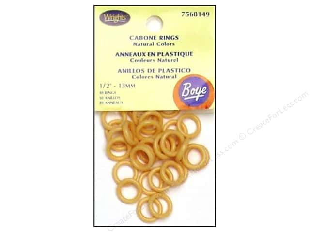 "Boye Yarn Accessories Cabone Rings 1/2"" Light Brown 30pc (3 packages)"