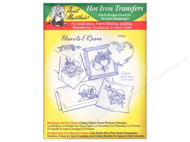 Aunt Martha's Hot Iron Transfer #3934 Green Hearts and Roses