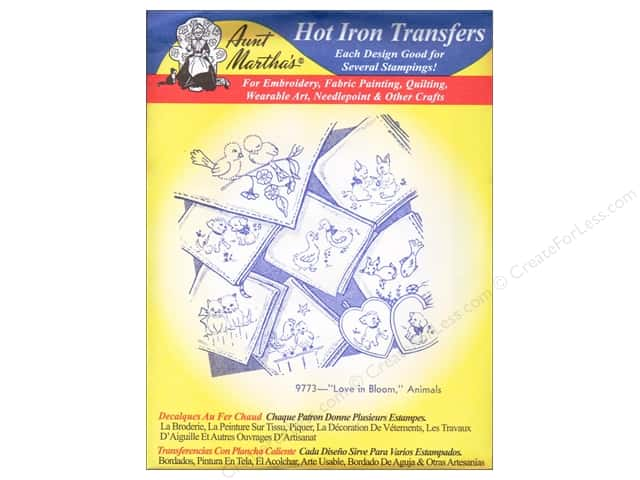 Aunt Martha's Hot Iron Transfer #9773 Blue Love in Bloom, Animals