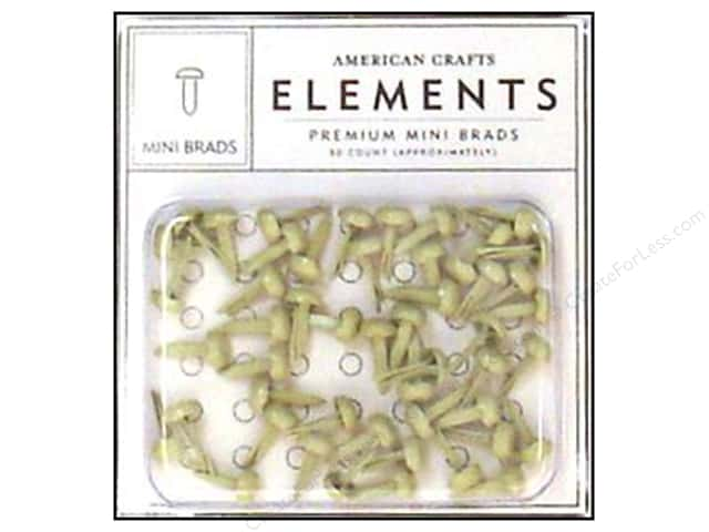 American Crafts Elements Brads Mini Vanilla 50pc