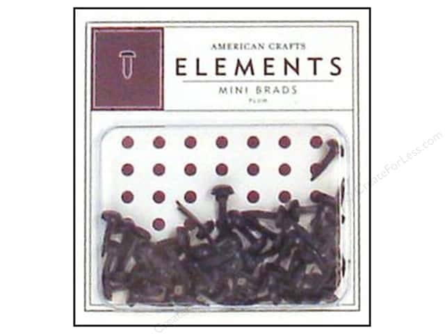 American Crafts Elements Brads Mini Plum 50pc