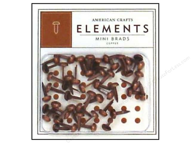 American Crafts Elements Brads Mini Copper 48pc