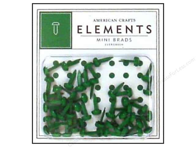 American Crafts Elements Brads Mini Evergreen 50pc