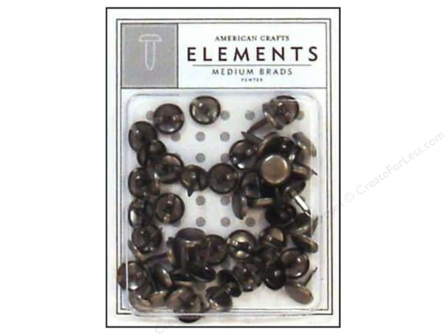 American Crafts Elements Brads Medium Pewter 50pc
