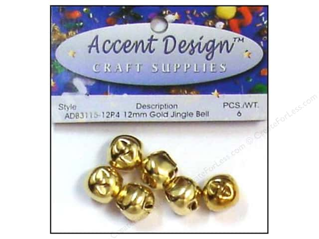 Jingle Bells by Accent Design 1/2 in. 6 pc. Gold (3 packages)
