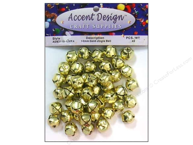 Jingle Bells by Accent Design 1/2 in. 45 pc. Gold