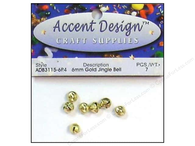 Jingle Bells by Accent Design 1/4 in. 7 pc. Gold (3 packages)