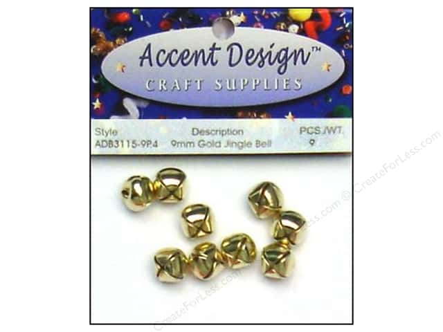 Jingle Bells by Accent Design 3/8 in. 9 pc. Gold (3 packages)
