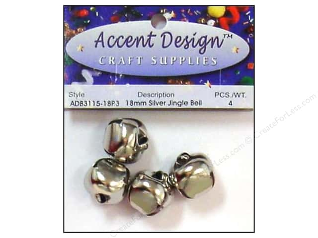 Jingle Bells by Accent Design 3/4 in. 4 pc. Silver (3 packages)