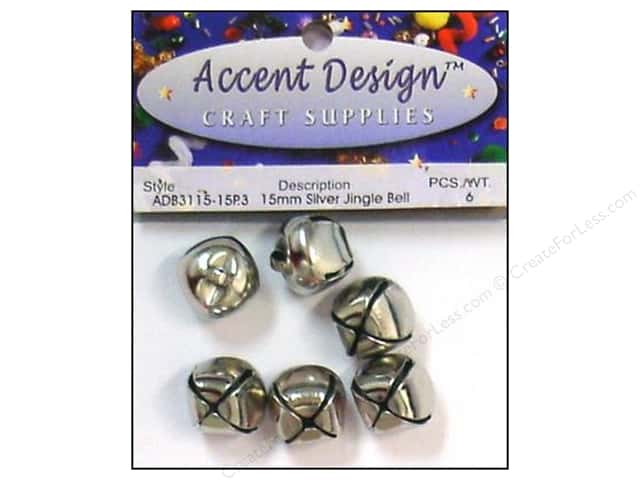 Jingle Bells by Accent Design 5/8 in. 5 pc. Silver (3 packages)
