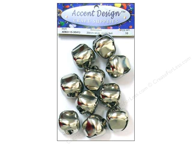 Jingle Bells by Accent Design 1 3/16 in. 10 pc. Silver