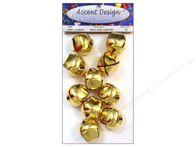 Accent Design Jingle Bell Value Pack 30mm 10pc Gold