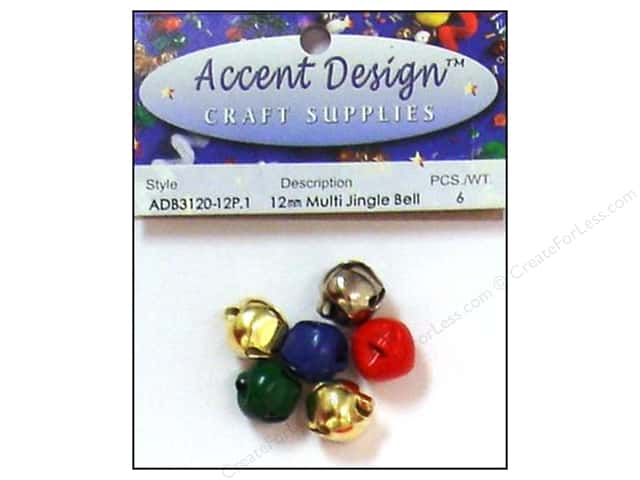 Jingle Bells by Accent Design 1/2 in. 6 pc. Multi (3 packages)